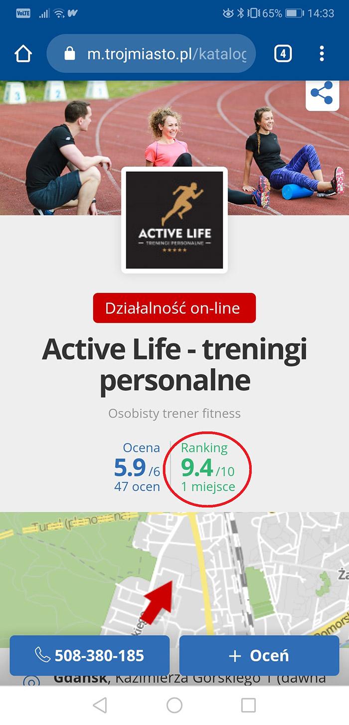 Jesteśmy nr  1 w rankingu trenerów personalnych portalu Trójmiasto.pl!